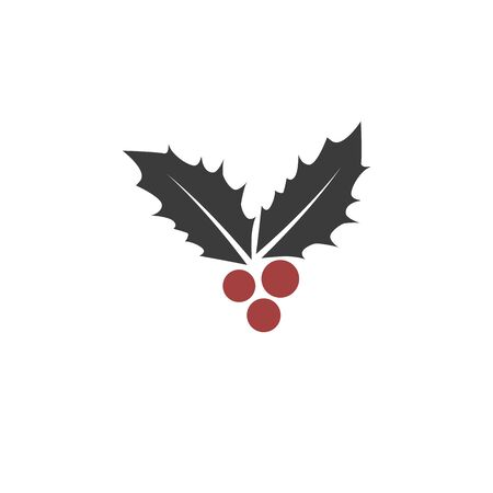 Christmas leaf and berry icon. Vector eps10