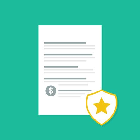 Penalty document with shadow. Flat style. Vector