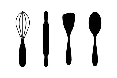 Kitchen utensils tools icon set. Vector eps10
