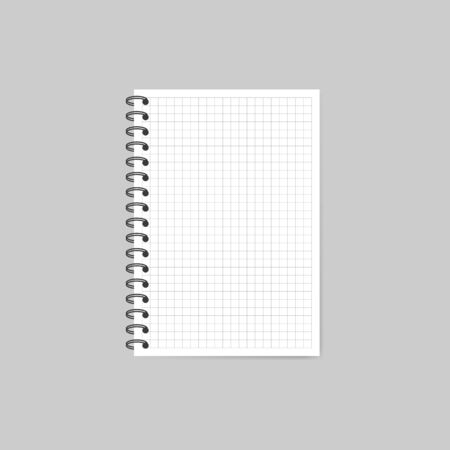 Notebook with shadow isolated on grey background. Vector Illustration