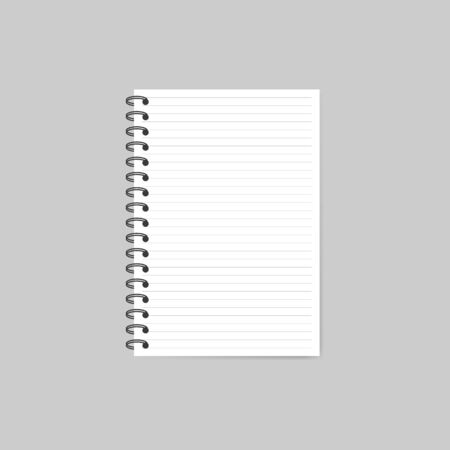 Notebook with shadow isolated on grey background. Vector Ilustrace