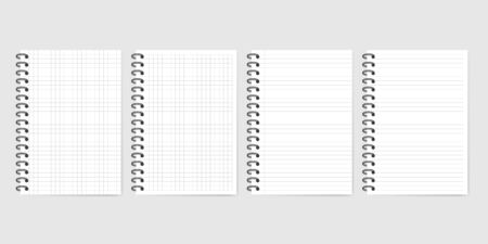Notebook set with shadow isolated on grey background