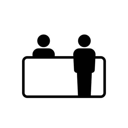 Kundenservice-Schreibtisch-Symbol einfaches Design. Vektor