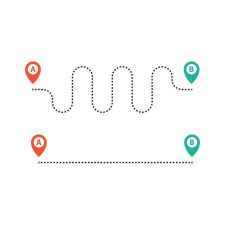 Route from point A to B. Straight and curved way. Vector Ilustração