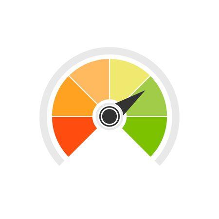 Credit score speedometer icon flat style. Vector