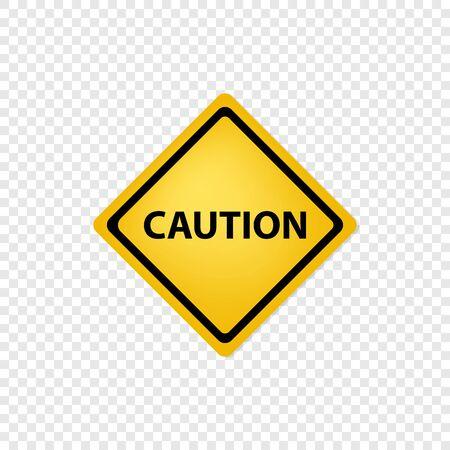 Caution road sign on transparent background. Vector Ilustração