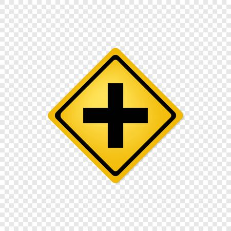 Road sign cross road icon. Vector eps10