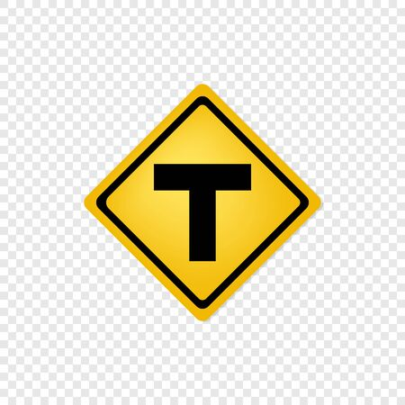 T intersection ahead road sign icon. Vector eps10
