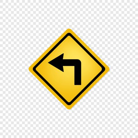 Road sign left turn icon. Vector eps10