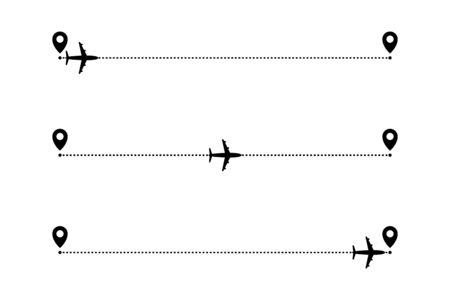 Airplane routes. Start, mid and finish. Vector Ilustração
