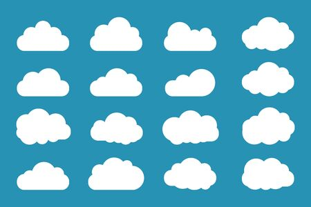 Clouds icon set flat style simple design