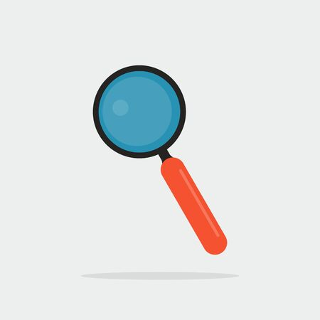 Magnifying glass icon with shadow. Vector eps10