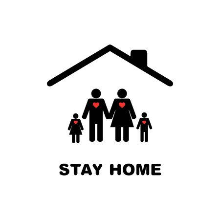 Stay home icon with family. Ilustração
