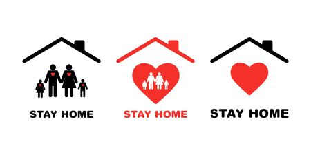 Stay home icon with family set.