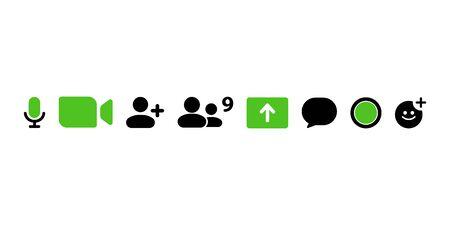 Video call icons set. Simple design. Vector Ilustração