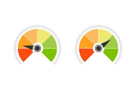 Credit score speedometer icon set