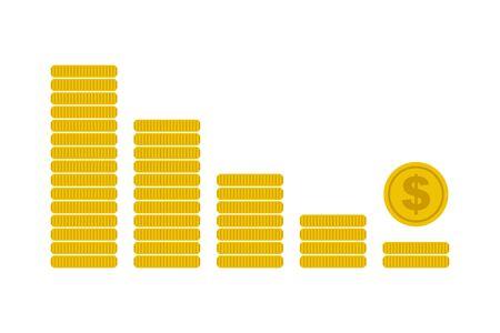 Financial crisis icon coins graph.