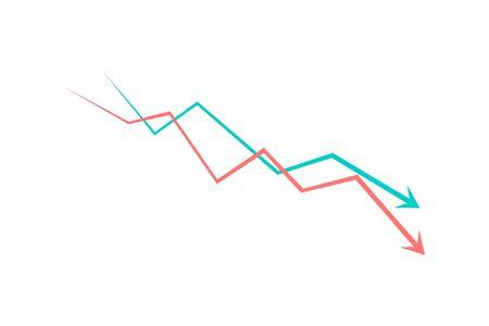 Financial crisis graph icon simple design. Vector Ilustração