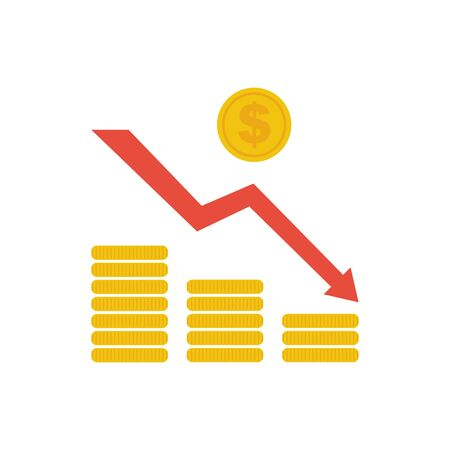 Financial crisis concept icon with coins and arrow Imagens - 145381812