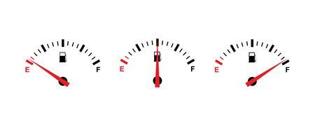 Fuel gauge icon set simple design  Ilustracja