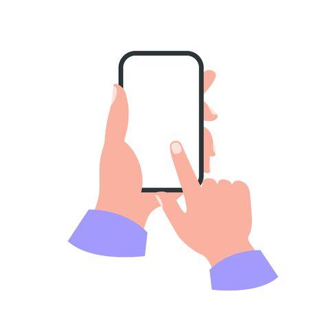 Smartphone in hand white screen concept