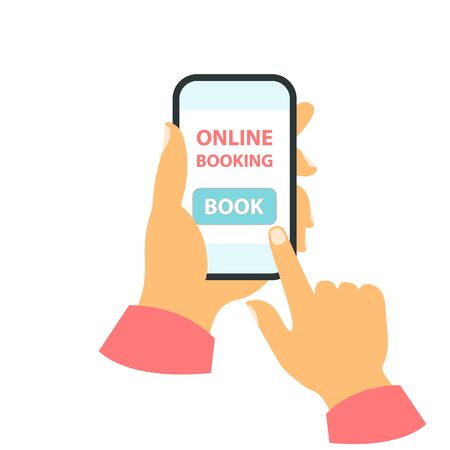 Smartphone in your hand concept. Online booking