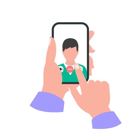 Smartphone in hand concept. Video call
