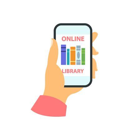 Smartphone in your hand concept. Online library Ilustração