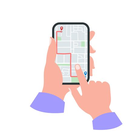 Smartphone in hand concept. Gps map with pins