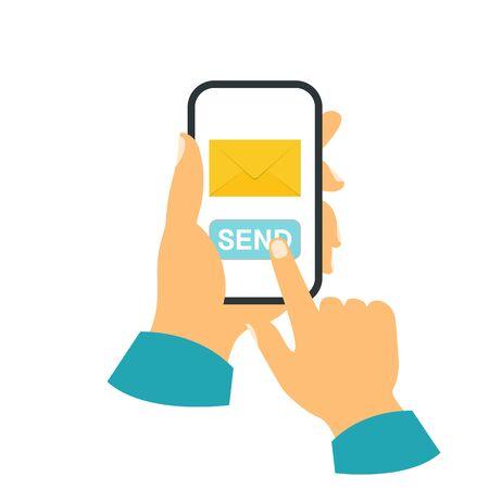 Smartphone in your hand concept. Send a message Ilustração