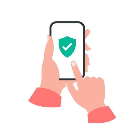Smartphone in your hand concept. Shield check mark