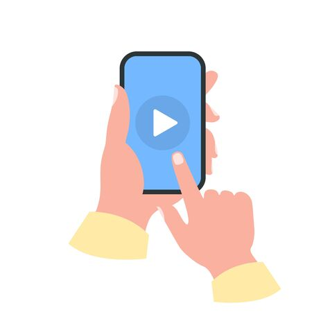 Smartphone in your hand concept. Watch video