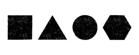 Geometric shapes grunge effect set Ilustração