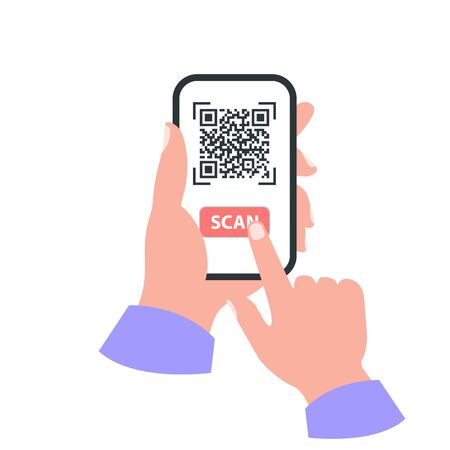 Smartphone in your hand concept. Scan qr code Illustration