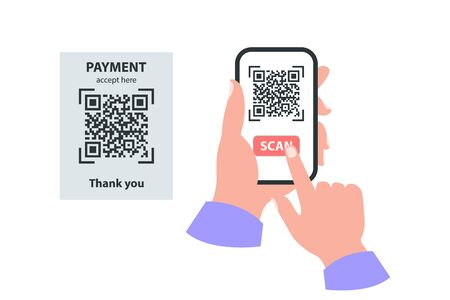 Smartphone in your hand concept. Scan qr code payment concept Illustration