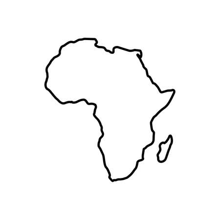 Africa map icon line style Vectores