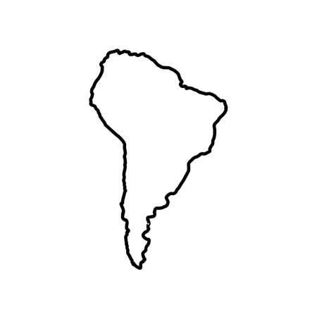 South America map icon line style Vectores