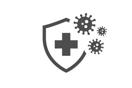 Coronavirus with medical shield guard