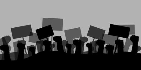 Hands with signs. Protest silhouette background concept.