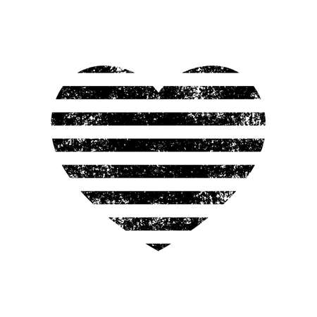 Striped heart with grunge effect