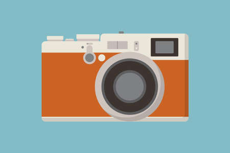 Retro photo camera icon flat style Illusztráció