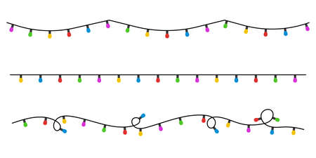 Christmas lights icon set background