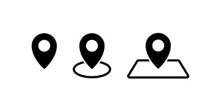 Pins location icons set simple design