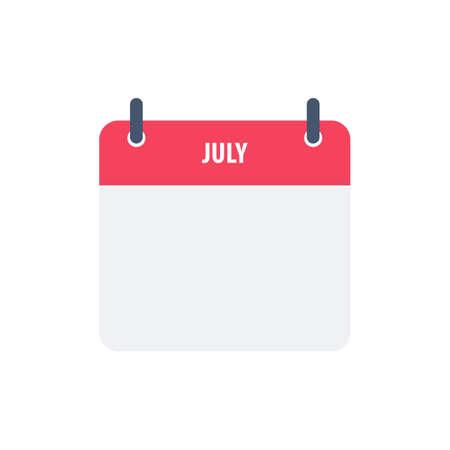 Calendar icon symbol july simple design