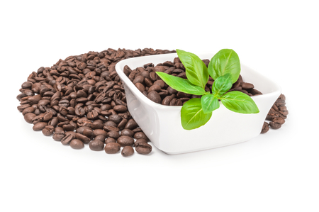 Brown coffee beans isolated on a white background cutout