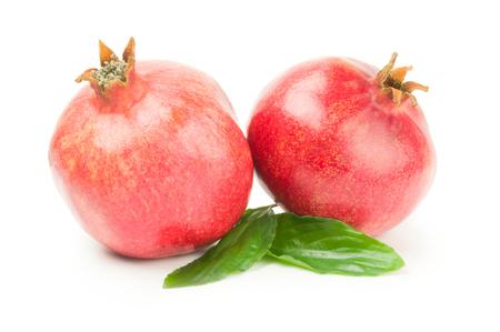 garnets: Juicy pomegranate fruit isolated on a white background cutout Stock Photo