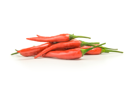 red peppers: Red peppers isolated on a white background with clipping path Stock Photo