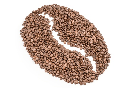 Closeup of coffee beans isolated on a white background cutout Stock Photo