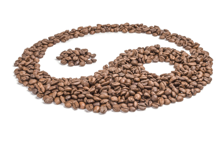 Roasted coffee beans isolated on a white background cutout Stock Photo