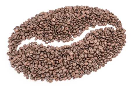 cafe colombiano: Roasted coffee beans isolated on a white background cutout Foto de archivo